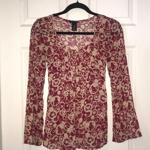 Bell sleeve tunic w/ ties at back bustline